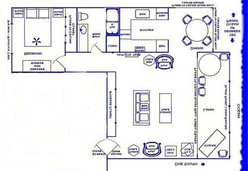 This is a drawing of the floor plan. The condo is 900 sq ft.